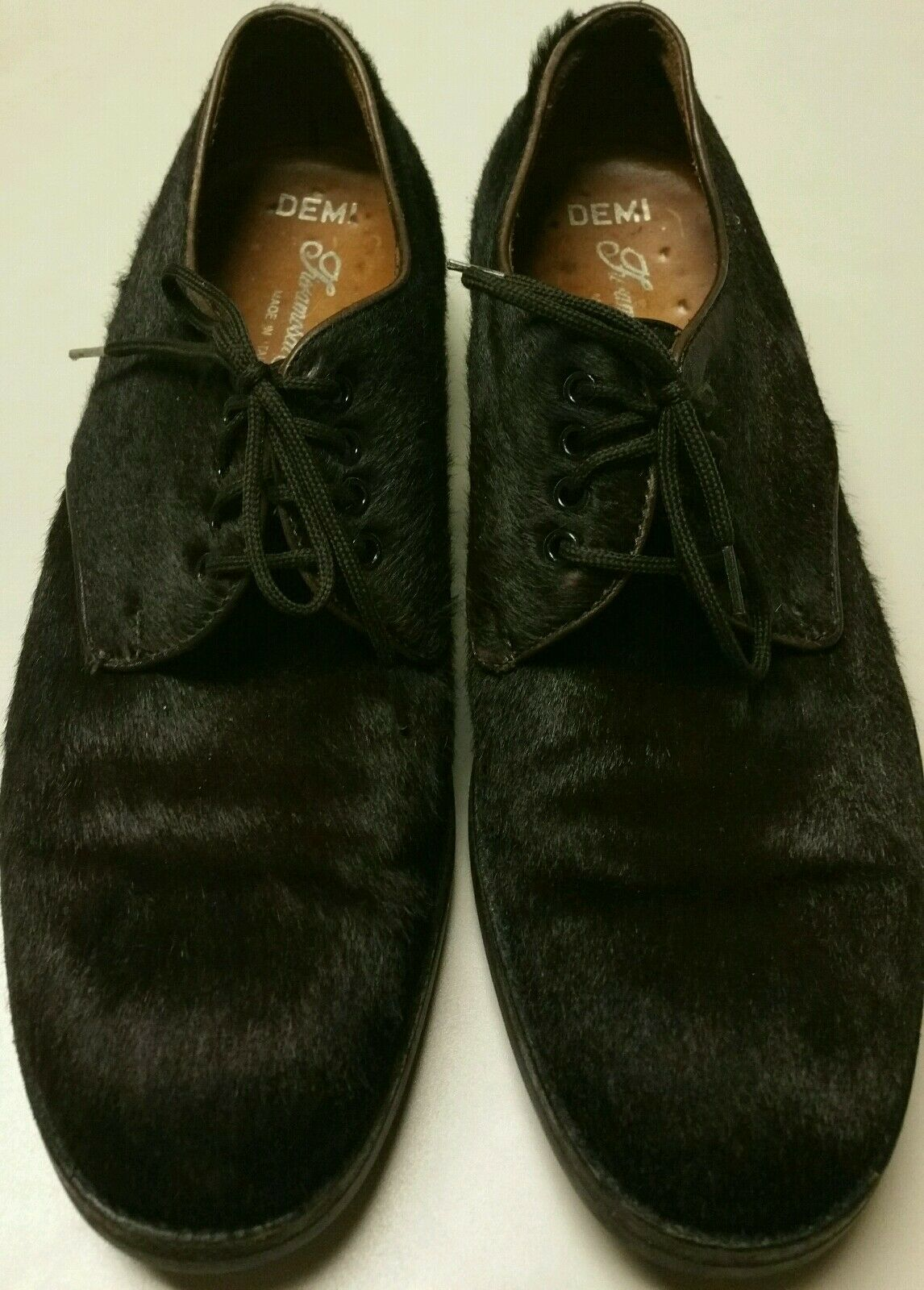 UNIQUE FIERAMOSCA DARK BROWN PONY HORSE HAIR OXFORDS ITALY 9 fits 8 runs small