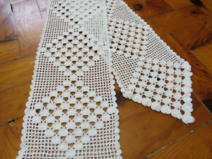 Narrow crochet table runner Lace Long White Doily Vintage Hadmade Dresser Scarf