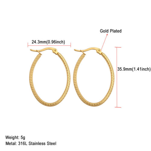 2 pcs Stainless Steel Rose Gold Plated Women Hoop Earrings Ear Fashion Jewelry