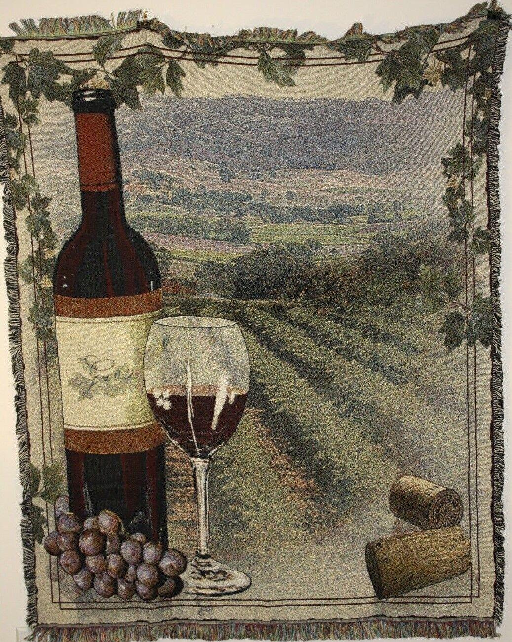 New `VINEYARDS` wine bottle cork grapes Tapestry Throw Blanket 48  X 60