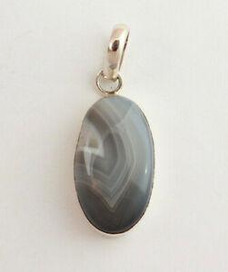 Natural Agate Pendant IN 925 Silver Precious Stone Ladies Jewelry Oval L- 46 MM