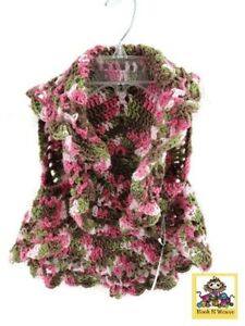 Handmade-Crochet-Youth-Child-039-s-Circle-Vest-Pink-Camouflage-CCV002