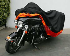 XXXL Orange Motorcycle Cover Waterproof For Harley Davidson Street Glide Touring