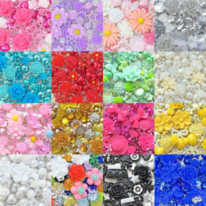 80-Mix-Shabby-Chic-Resin-Flatbacks-Craft-Cardmaking-Embellishments-15-Colours