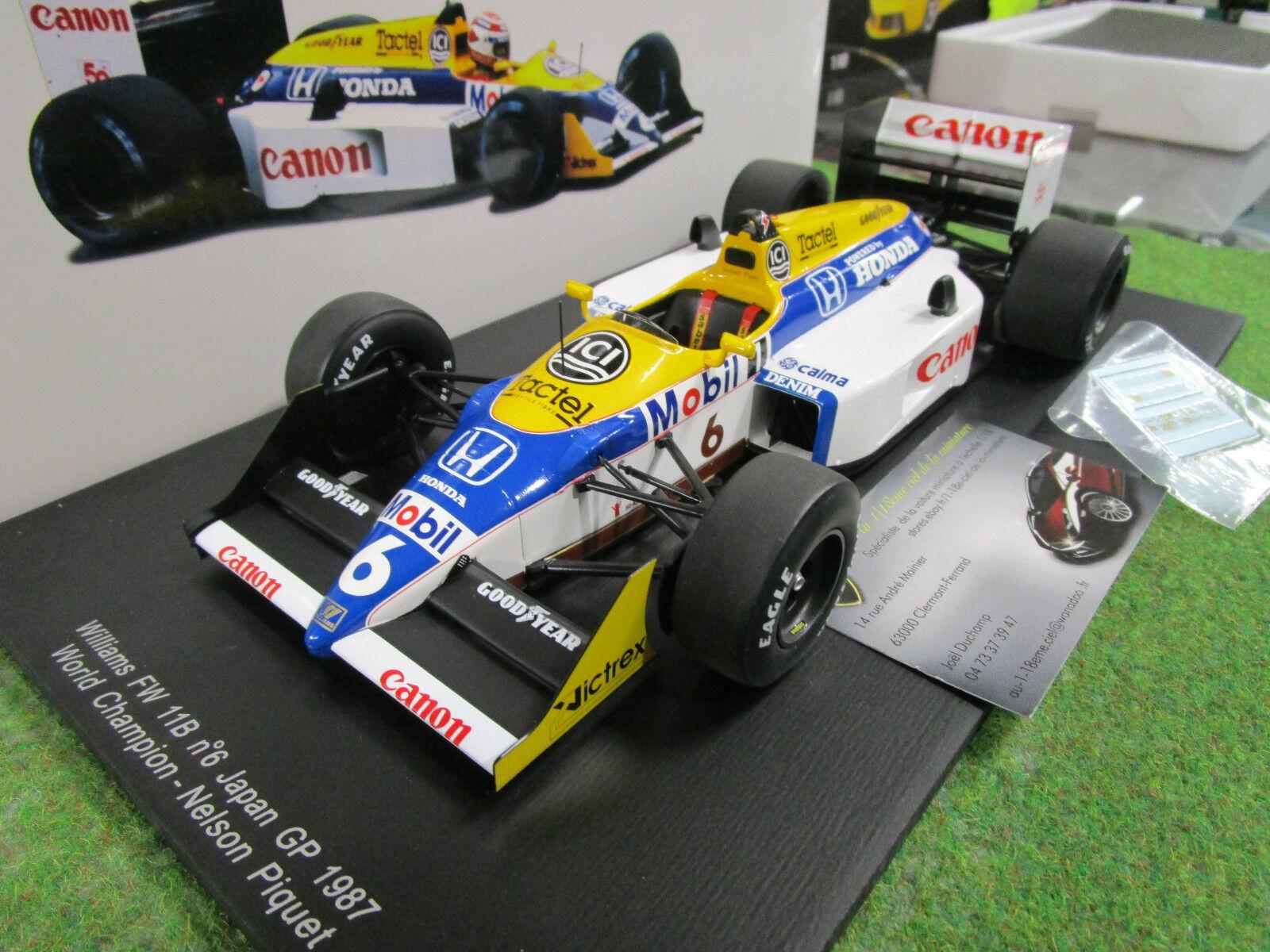 F1 WILLIAMS FW11B  6 GP JAPON 1987 N.PIQUET au 1 18 SPARK 18S118 formule 1