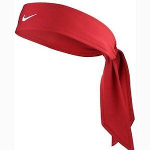New Womens Nike Head Tie Dri Fit Red Headband Tennis Running ... 33d8694e944