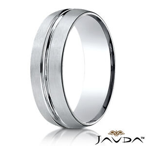 d6db2f622cd30 Details about 7mm Satin Finish Groove Design White Gold Ring Man Men's  Women's Wedding Band