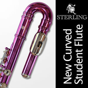 Curved-Head-Pink-STERLING-Student-C-FLUTE-Straight-AND-Curved-Headjoints