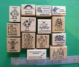 Stamp Set for Teachers School Supply Encouragement Classroom Supply 9-Piece Wood Mounted Rubber Stamps Paper Grading Stamps for Teachers Notes