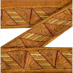 Crafts Lace, Crochet & Doilies Modest Sanskriti Vintage Saffron Sari Border Hand Embroidered Indian Craft Trim Lace