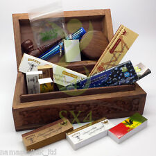 Wooden Stash Storage Box Cigarette Rolling Christmas Gift Kit Hemp Paper Grinder