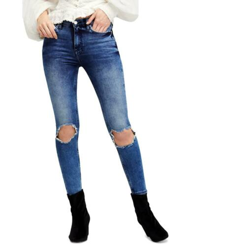 Free People Womens Destroyed High Rise Acid Wash Cropped Jeans BHFO 2400