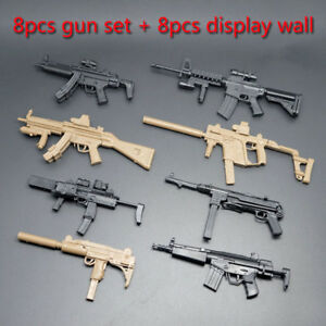 8pcs-1-6-MP5-HK53-UZI-MK18-MP7-KRISS-VECTOR-Military-Model-Gun-Toy-Display-Wall