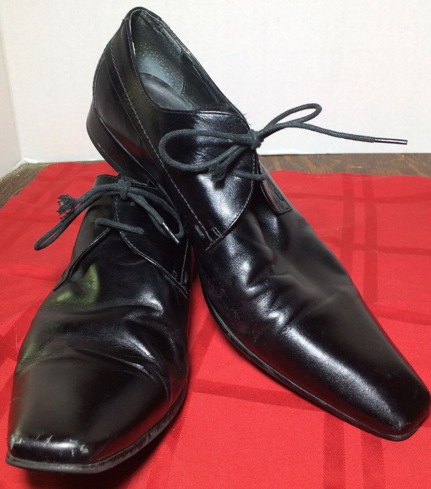 MEN'S SHOES ALDO BLACK LEATHER FORMAL SHOES MEN'S SIZE 43 40a6e2