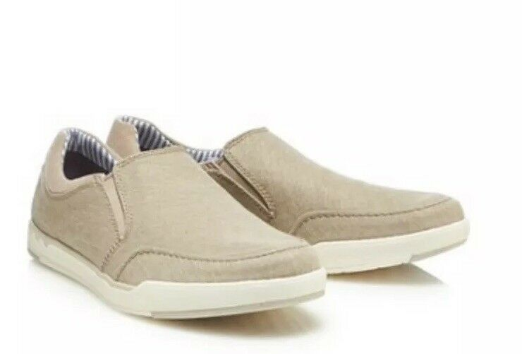 d68f9f1692cd1 Mens Clarks - Natural Canvas Canvas Canvas  Step Isle  Slip-On shoes Size  ...