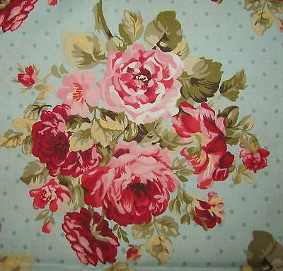 """FLORAL HERITAGE STUDIO"" LGE PINK ROSE BOUQUETS on LT BLUE~FAB TRADITION FAT 1/4"