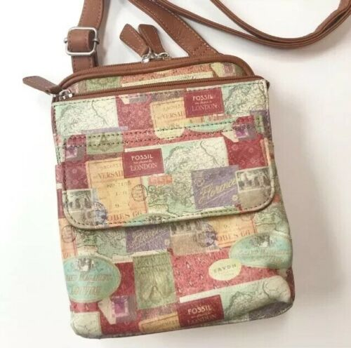 FOSSIL European Travel Stamp/Map Print Crossbody