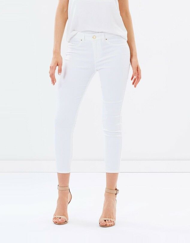Karen Millen PY052 Gold Detail Stretch Biker Skinny Jeans Slim Trousers 6 - 16