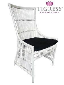 Brilliant Details About Connor Hampton Style White Cane Rattan Dining Side Chair Black Seat Cushion Inzonedesignstudio Interior Chair Design Inzonedesignstudiocom
