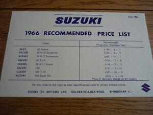 Details about SUZUKI 1966 PRICE LIST BROCHURE MOTORBIKE BROCHURE jm