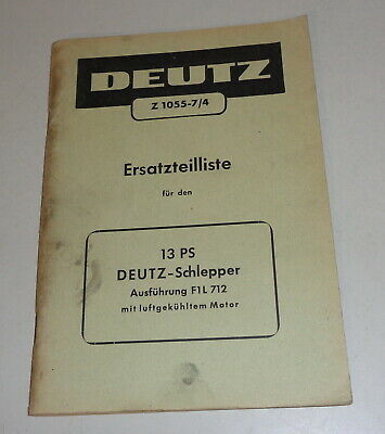 Farming & Agriculture Parts Catalog/spare Parts List Deutz Diesel Tractor 13 Ps F1l 712 Fine Workmanship Motors