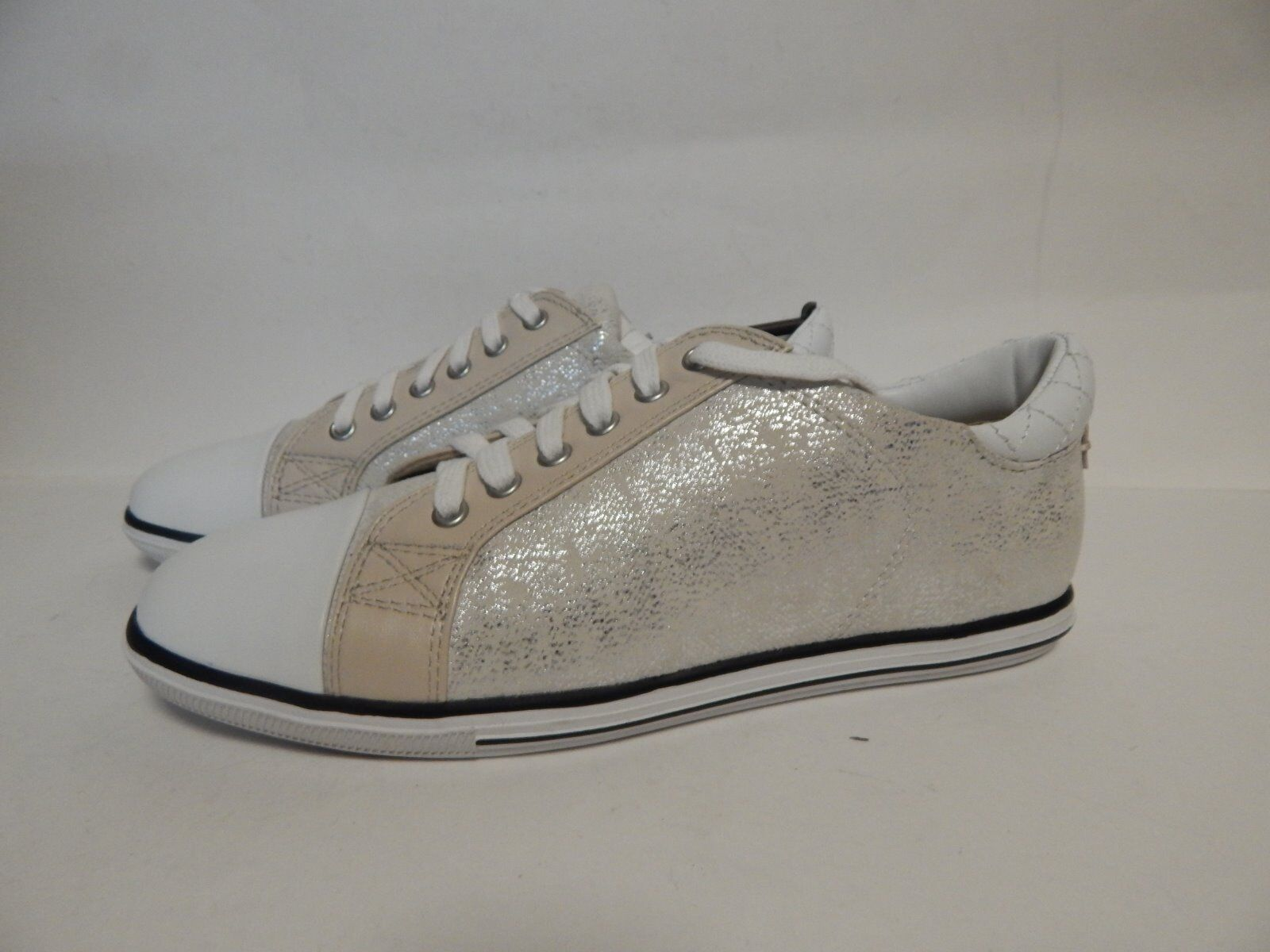 Elie Tahari Dream scarpe da ginnastica 37 US 7 M bianca Bone Argen  New with Box
