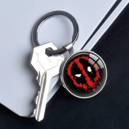 Comic Superhero Deadpool Logo keychain Silver Keyring Pendants Keychains Gifts