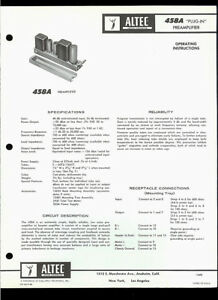 altec lansing 458a plug in preamplifier amp original factory owner s rh ebay com  altec lansing speaker owners manual