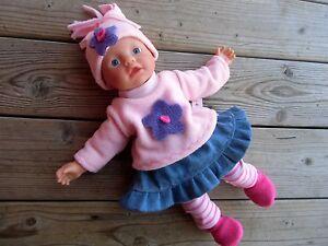 Puppenkleidung 5-tg. für Puppen Gr. 32 little Baby Born mit Jeansrock + Schuhe