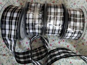 Vente Pas Cher 80 Mètres 4 Rouleaux Noir & Blanc Tartan Design Ruban Largeur 40 Mm Free P&p-afficher Le Titre D'origine
