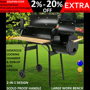 Details about New Offset Charcoal BBQ Smoker Meat Grill Box Wood Fired  Smoked Oven Food Steel