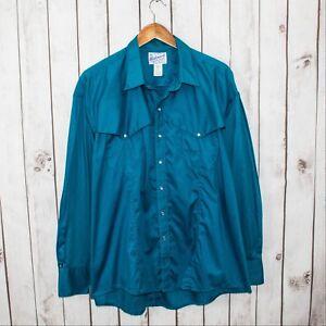f6012ef9 Vtg Rockmount Men's Western Ranch Wear Snap Shirt Oversized Blue Sz ...