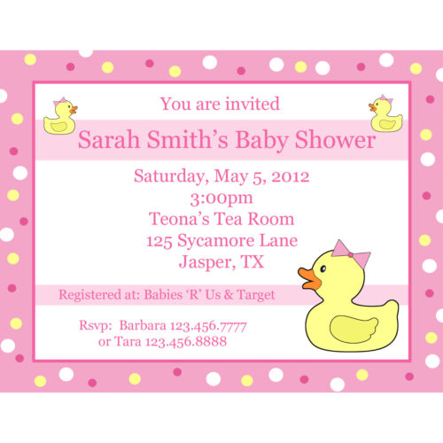 20 Personalized Baby Shower Invitations Pink Rubber Ducky