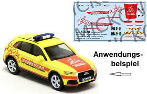Mickon 60020 Decals Audi Q5 LNA leitender Notarzt Bremen passend Herpa 1:87 H0