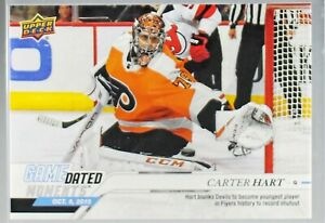 2019-20-UD-GAME-DATED-MOMENTS-5-CARTER-HART-FLYERS-FIRST-CAREER-SHUTOUT