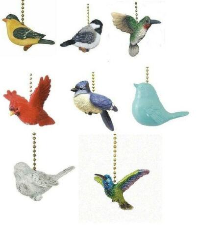 HUMMINGBIRD GOLDFINCH CHICKADEE CARDINAL BIRD CEILING FAN PULL BLUE JAY