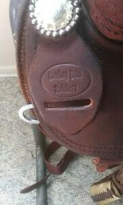 "Used 15"" Cowboy Gold Trophy Team Roping Saddle"