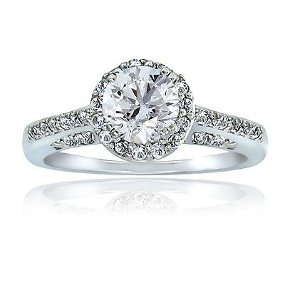 925 Silver 2ct White Topaz Round Engagement Ring