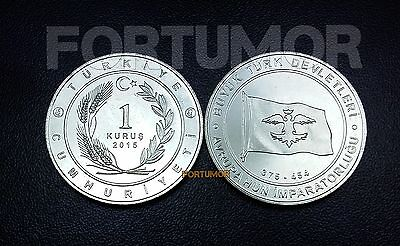 UNC COMMEM COIN #3 TURKEY 1 KURUS 2015 2016 EUROPEAN HUNNIC EMPIRE 375-454