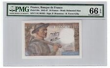 "France 10 Francs Banknote 1942-47 Pick# 99e PMG Gem UNC 66 EPQ ""Vintage"""