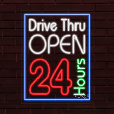 Drive Thru Open 24 Hours Led Flex Neon Sign For Retail Window Displays