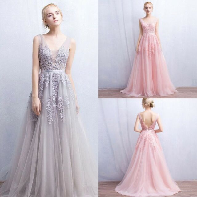 Women Long Party Prom Formal Evening Ball Gown Dresses Wedding ...