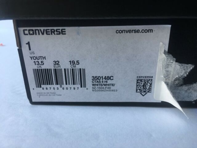 d5b779bf2c7d Converse Chuck Taylor as II Hi 350148c White Canvas Casual Shoes Medium  Youth Whites 1