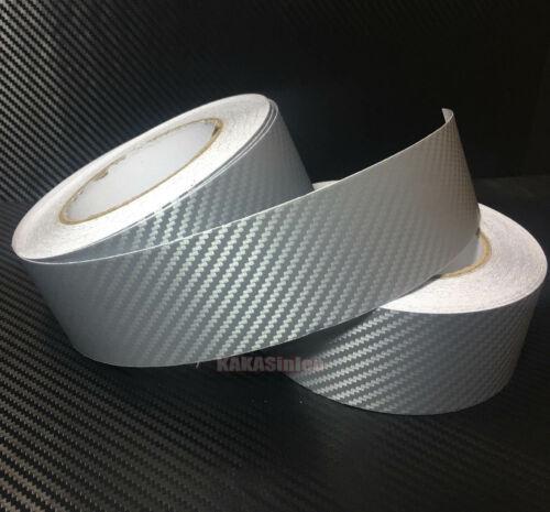 Adhesive Tape Vehicle 3D Silver Texture Carbon Fiber Vinyl Wrap Sticker Sheet VL