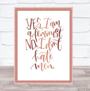 Yes Feminist Quote Print Poster Rose Gold Wall Art