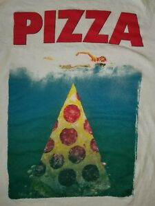 MEDIUM-Pizza-Jaws-T-shirt-Funny-Punk-Rock-Mash-up-beach-summer