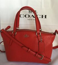 0624fc51a1fc COACH Mini Kelsey F57563 Pebbled Leather Shoulder Crossbody Bright Red NWT