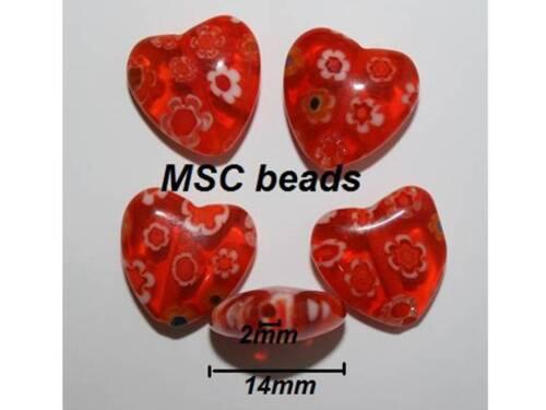 Mix Gold Yellow Purple Blue Brown HEART Millefiori 5mm 12mm 14mm 16mm 18mm 25mm