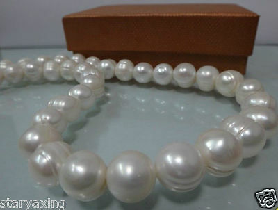 11-12MM NATURAL WHITE SOUTH SEA BAROQUE PEARL NECKLACE 18""