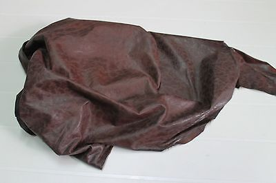 Italian Lambskin leather hide hides skin  RUSTIC ANTIQUED CHESTNUT BROWN 6+sqf